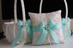 Aqua Blue Ring Bearer and Wedding Basket Set by AlexEmotions