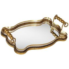 Antonia Antique Gold Leaf Mirrored Tray - #2P441 | Lamps Plus