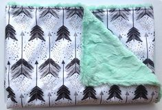 Tribal Arrow Blanket-Black Gray Mint-Watercolor Boy Minky-Modern Aztec Southwest Nursery-Designer Fabric-Baby Shower Gift-Baby Bedding