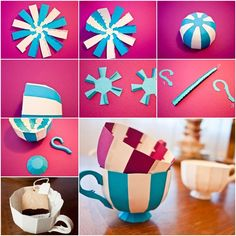 How to Make Colorful Striped Paper Teacups tutorial and instruction. Follow us: www.facebook.com/fabartdiy