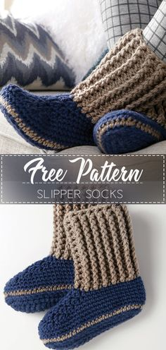 Slipper Socks Free Crochet Pattern These super cozy Ugg style crochet slippers would be perfect for winter and would make a great Christmas gift! Crochet Baby Socks, Crochet Slipper Boots, Knitted Slippers, Slipper Socks, Knit Slippers Pattern, Crochet Simple, Crochet Diy, Crochet Ideas, Crochet Cocoon