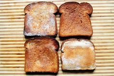 Cinnamon Toast the Right Way | The Pioneer Woman Cooks | Ree Drummond. She demonstrates four different approaches to cinnamon toast. Her favorite:  mix 1 stick of softened butter with at least 1/2 c sugar, 1 t vanilla and 1 1/2 t cinnamon. Spread mixture on untoasted bread and put in 350* oven for about 10 mins. Then switch to broil and keep an eye on it. Enjoy.