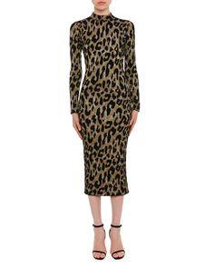 4b3eb0179c Versace Mock-Neck Long-Sleeve Metallic Leopard-Intarsia Mid-Calf Dress