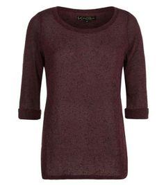 Burgundy Roll Sleeve Lightweight Knit
