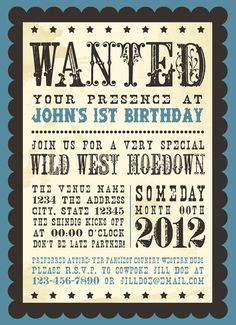 Western Wanted  Printable Birthday Invitations by PaperCutCouture, $15.00