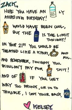 Wish I would have thought to do this for friends in college.  Such a cute idea! 21st bday card
