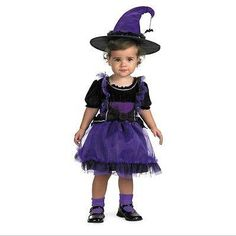 Too Cute to Spook Frilly Purple Witch Fairy Princess Girls Costume/Hat Disguise - Ad#: 3973234 - Addoway