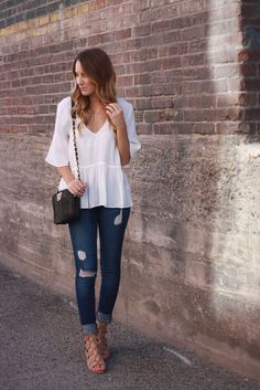 Similar peplum tops  // BlankNYC Jeans  //  Dolce Vita Wedges  // Kelly Wynne 'Mingle Mini' Bag  // 3 Disc Necklace  //              ...