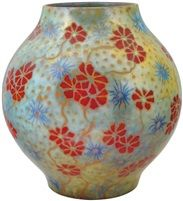Vase with wildflower décor by Zsolnay