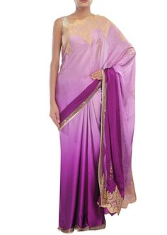 Purple ombre saree embellished in kundan only on Kalki