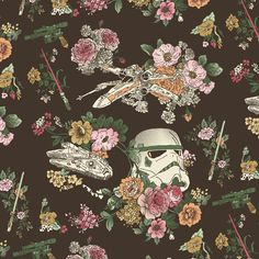 Botanic Wars Art Print (I need this to be fabric. Or at least wallpaper! Dammit! -rhc)