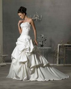 Strapless Beaded Wedding Gown with Pick-Up Skirt in White or Ivory http://bit.ly/IbRtAY