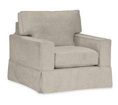 PB Comfort Square Arm Slipcovered Swivel Armchair, Box Edge Down Blend Wrapped Cushions, Textured Twill Silver Taupe