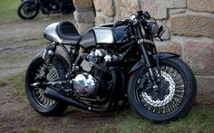 Cafe Racer: Custom Cafe Racer Motorcycle, Twin Exhaust Muffler On Custom CB750 Cafe Racer Black And Silver Color Paint