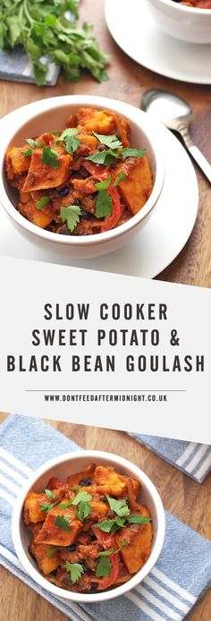 This vegan goulash is made with sweet potatoes and black beans slow cooked in a rich tomato and paprika sauce. Click through to grab the recipe for this easy and delicious dinner.