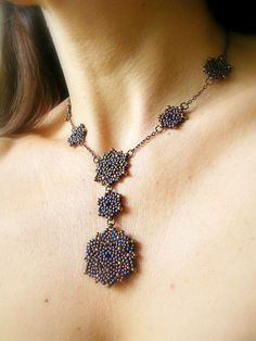 handmade seed bead necklace in matte iris blue and bronze