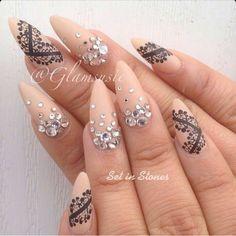 Matte Nude Almond Shaoe Acrylic Nails w/ Lace Design & Rhinestones
