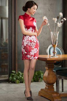 2015新品改良真絲旗袍高檔桑蠶絲修身連衣裙短款女旗袍裙白玉蘭