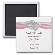 Custom Pink Hearts Save The Date Magnet #weddings