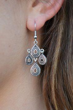 Mini Tier Drop Earrings - Antique Silver
