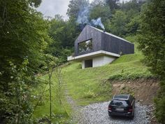 house on the slope, nice terrace, wood and concrete
