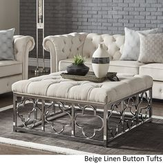 Solene Chrome Quatrefoil Base Square Ottoman Coffee Table by iNSPIRE Q Bold - On Sale - Overstock - 18594315 - Grey Linen - Button Tufts Square Ottoman Coffee Table, Ottoman Table, Ottoman Decor, Glam Living Room, Living Room Furniture, Living Room Decor, Hanging Furniture, Table Cafe, Black Furniture