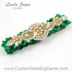 "WEDDING GARTER-Emerald Green and Gold Pearl Beaded Wedding Garter ""Charlotte 01"" Gold"