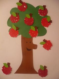 Creative Image of Paper Apple Crafts Paper Apple Crafts Paper Apple Tree Fun Family Crafts Tree Crafts, Paper Crafts, Art For Kids, Crafts For Kids, Kid Art, Print On Paper Bags, Apple Activities, Fall Door Decorations, Apple Theme