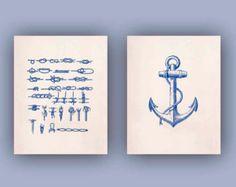 Nautical Prints Ocean Prints, Print 11x14, Set of 2 in navy blue Marine Knots, Nautical Anchor, Nautical Coastal Prints, Seaside living