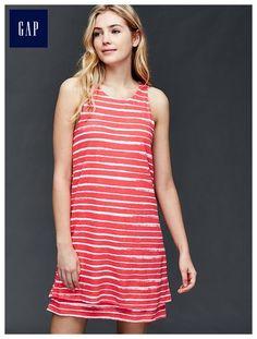 Double-layer linen-cotton stripe dress
