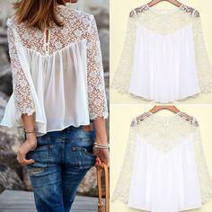 2014 Summer Women Fashion Casual Lace Shirt Chiffon Blouses T Shirt Tops Hot #Unbranded #Blouse #Casual