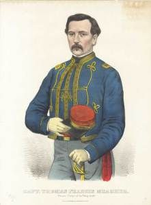 1861 Currier Ives entitled Captain. Thomas Francis Meagher. Zouave Corps Of The 'Sixty-Ninth'. Meagher appears in his zouave uniform of the 69th New York Vols