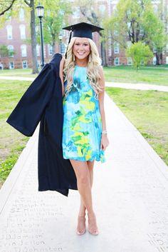 Preppy blue and green graduation dress Graduation Picture Poses, College Graduation Pictures, Graduation Portraits, Nursing School Graduation, Graduation Photoshoot, Graduation Photography, Grad Pics, Grad Pictures, Senior Pics