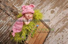 Rosa Piggy - abrazo Critter Cape Set - fotografía recién Prop