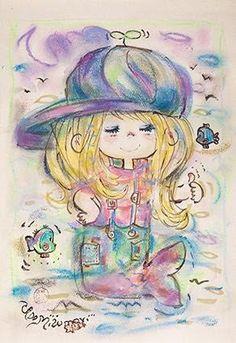 ado mizumori Little Boy And Girl, Girls In Love, Little Boys, Japanese Poster, Japanese Aesthetic, Vintage Cards, Original Image, Sanrio, Art Girl