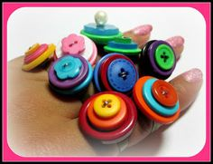 Great tutorial on making Stacked Button Rings! #FebruaryJones