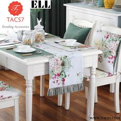 Junwell Fashion Polyester Printing Table Runner Colorful With Hand-Made Tassel Runner Table Cloth With Tassels Table Runner Cheap Table Runners, Home Textile, Decoration, Kitchen Decor, Table Settings, Sweet Home, Dining Table, House Design, Interior