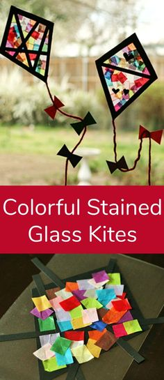 Colorful Stained Glass Kites Window Display | Make and Takes