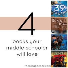 I know that once kids hit the middle school years, it can be a little tougher to find books that they love to read! I am hoping to come up with a few lists of books that will keep kids engaged and loving reading, because I love reading. Here is my first list of four …