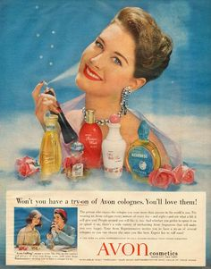 1958 vintage ad, Avon Cosmetics, 'Try on Avon Cologne' pretty girl - 021513