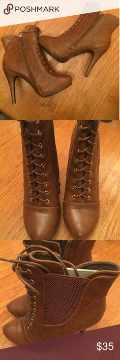 """NEW ANKLE LACE UP BOOTS!! Brand new. They go up to high for me. Very pretty! Heels are 4.5"""". Cognac. No box. Nature Breeze Shoes Ankle Boots & Booties"""