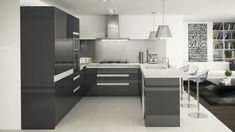 U-Shape Kitchen In High Gloss Gunmental With Integrated Aluminium Handles