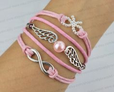 Infinity of wing pink pearl bracelet jewelry by lovelybracelet, $4.99