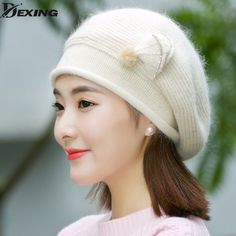 b126116a52e 2017New Fashion butterfly rabbit Wool Thicker Winter Hat Womens Warm Brand  Casual High Quality Knitted cap For Girls Berets-in Berets from Women s  Clothing ...