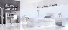 Bed 90x200cm, bedside table, desk and shelf