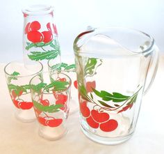 Vintage Pitcher and Juice Glass Set With Red cherries