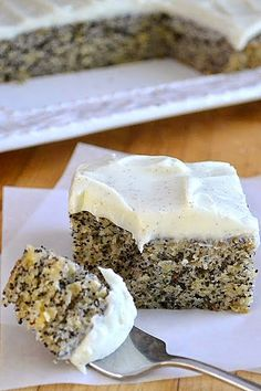 Banana Poppy Seed Cake with Vanilla Bean Frosting ~ This cake was awesome! The frosting and the cake were a perfect combo. So much so that I didn't mind walking around with seeds in my teeth! I had a lot of extra frosting, so I'm making another one today.