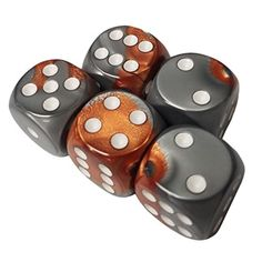 Set of 5 Dice Gemini Copper Steel Gray with White Pips Round Corner 16mm in Snow Organza Bag - Brought to you by Avarsha.com