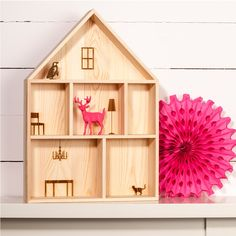 A beautiful unique shelf in the shape of a house with some of the furniture already etched onto the walls This shelf unit would make the perfect dolls. Display Boxes, Display Shelves, Wall Shelves, Unique Shelves, Unusual Furniture, Mirror With Shelf, Hanging Hearts, Heart Decorations, Wooden House