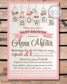 Pink Chevron Mason Jar Baby Shower Invitations by DelightInvite on Etsy https://www.etsy.com/listing/208216624/pink-chevron-mason-jar-baby-shower